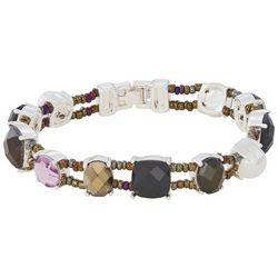 Napier Stones and Seed Bead Snap Bracelet