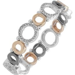 Nine West Boxed Tri Tone Circle Stretch Bracelet