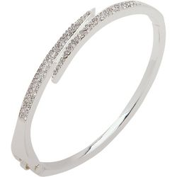 Nine West Rhinestone Silver Tone Hinged Bangle Bracelet