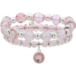Nine West Pink & Silver Tone Stretch Bracelet Set