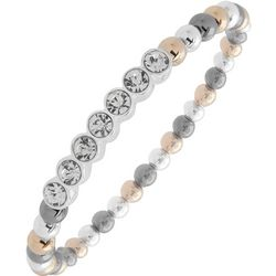 Nine West Tri Tone Beads & Rhinestones Stretch Bracelet