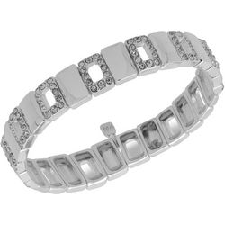 Nine West Clear Rhinestones Silver Tone Stretch Bracelet