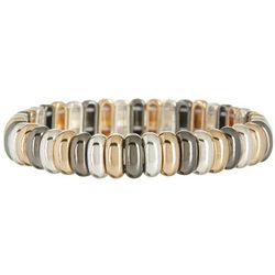 Nine West Tri-Tone Oval Link Stretch Bracelet