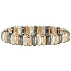 Tri-Tone Oval Link Stretch Bracelet