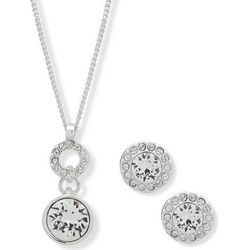Nine West Rhinestone Earring & Pendant Necklace Set