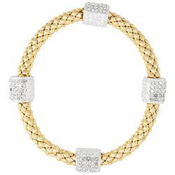 Nine West Boxed Popcorn &  Pave Bead Stretch Bracelet