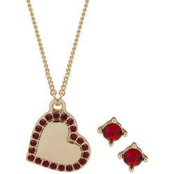 Nine West Rhinestone Heart Necklace & Earring Set