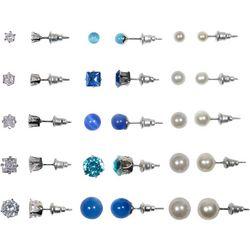 Bay Studio 15 Pair CZ Pearl Blue Bead Earring Set