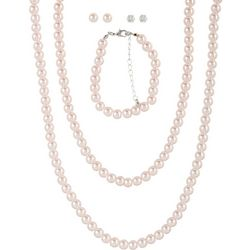 Bay Studio 5 Pc Set Faux Pearl Necklace & Bracelet