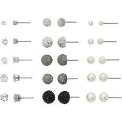 Bay Studio CZ Pearl & Sparkle Ball Earring Set