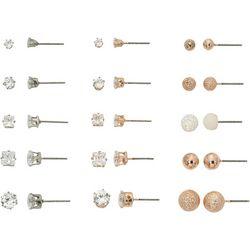 Bay Studio Rose Tone CZ & Ball Stud Earring Set
