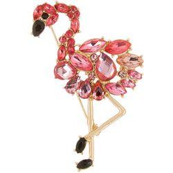 Boxed Multi Stone Pink Flamingo Pin