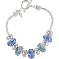 Napier Blue & Aqua Glass Bead Slider Bracelet