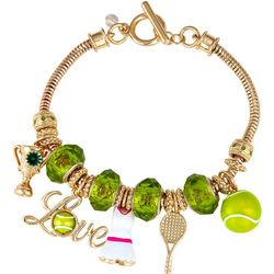 Napier Boxed Love Tennis Charm Toggle Bracelet