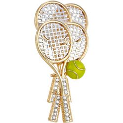 Boxed Gold Tone Multi Tennis Racket Pin