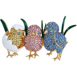 Napier Boxed Crystal Spring Chick Triplets Pin