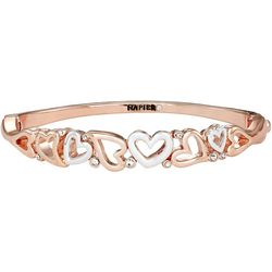 Napier Two Tone Heart Hinged Bangle