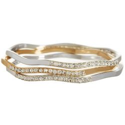 Napier Two Tone Rhinestone Bangle Bracelet Set