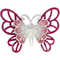 Napier Enamel & Rhinestone Butterfly Pin