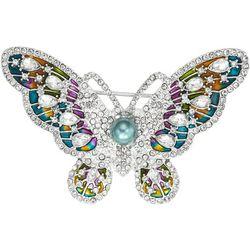 Napier Multi Color & Rhinestone Butterfly Pin