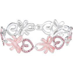 Napier Boxed Pink Heart & Ribbon Bracelet
