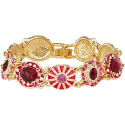 Napier Pink & Red Multi Round Link Bracelet