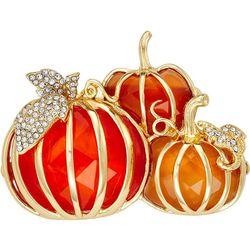 Napier Pumpkin Trio Enamel And Crystal Pin