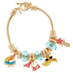 Napier Boxed Beach Charm Slide Toggle Bracelet