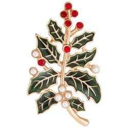 Napier Gold Tone Holly Branch Pendant