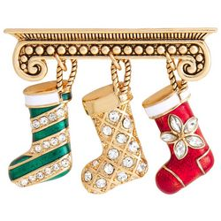 Napier Gold Tone Christmas Stockings Pendant