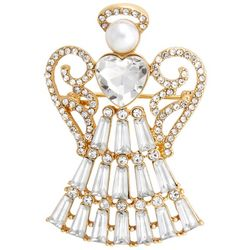 Napier Gold Tone Crystal Angel Pendant