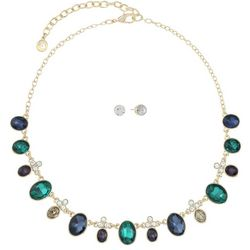 Gloria Vanderbilt Jewel Tone Frontal Necklace Set
