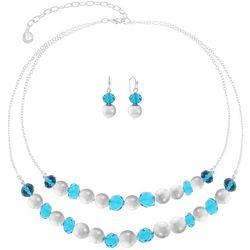 Gloria Vanderbilt Aqua Beaded 2 Row Necklace Set
