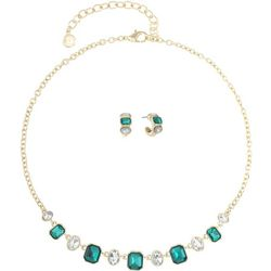 Gloria Vanderbilt Green Stone Necklace & Hoop Set