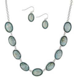Gloria Vanderbilt Aqua Oval Frontal Necklace Set