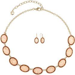 Gloria Vanderbilt Peach Oval Frontal Necklace Set