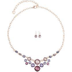 Gloria Vanderbilt Boxed Purple Multi Necklace Set