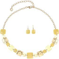 Gloria Vanderbilt Yellow Chicklet Necklace Set