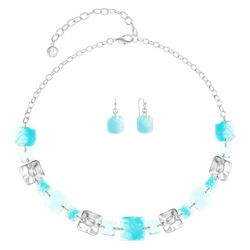 Gloria Vanderbilt Chicklet Silver Tone Necklace Set