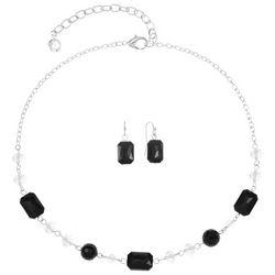 Gloria Vanderbilt Black & Silvertone Necklace Set