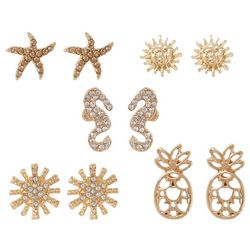 Bay Studio 5 Pr Starfish Seahorse Earring Set