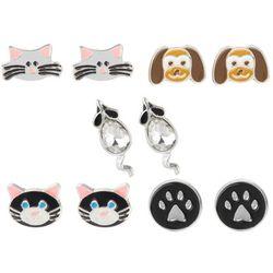 Multiples 5-pc. Cat & Dog Earring Set