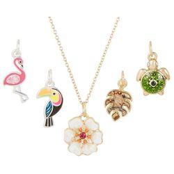 5-pc. Tropical Flamingo Flower Pendant Necklace