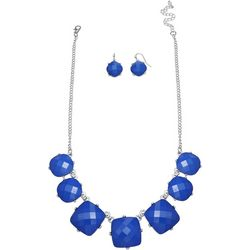 Blue Facet Frontal Necklace Set