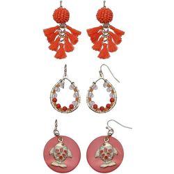Coral Bay Orange Bead & Tassel Trio Earring Set