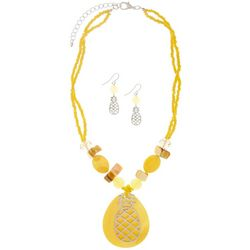 Paradise Shores Yellow Pineapple Pendant Necklace Set