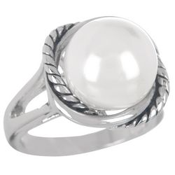 Silver Tone Rope & Pearl Ring