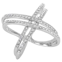City by City 4 Row Silver Tone Crisscross Ring