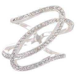 Pave CZ Double Loop Ring