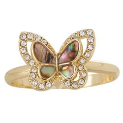 City By City Gold Tone Abalone Butterfly Ring